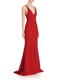 Narciso Rodriguez - Textured Crepe V-Neck Gown