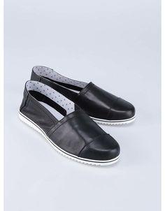 OJJU - Černé kožené loafers s bílou podrážkou - 1 c31beb7139