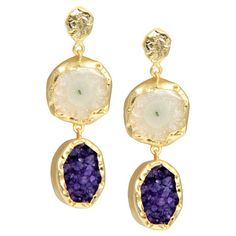 Featuring polished white agate and druzy quartz drops, these 18 karat gold-plated earrings add a pop of style