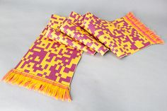 Coming soon:  1 Bit Twill  http://GlitchTextiles.com Fabric by Phillip David Stearns  Binary data rendered in bold colors with a classic twill pattern to bind things together. Available soon as fabric by the meter in a selection of compositions (cotton, linen, cashwool, mohair) in double or single layer, and as scarves.  Scarf dimensions: 30cm x 175cm (incl fringe)  Fabric width: 175cm