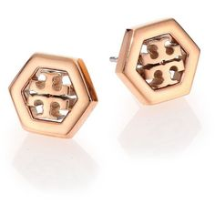 Tory Burch Logo Hexagon Stud Earrings/Rose Goldtone ($81) ❤ liked on Polyvore featuring jewelry, earrings, apparel & accessories, rose gold, 18 karat gold jewelry, logo earrings, 18 karat gold earrings, 18k jewelry and rose gold tone earrings