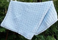 Pale Blue Baby Blanket Crochet Baby Carseat by sweetpeacollections, $28.00