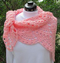 Pretty Pink Crochet Shawl pineapples Scarf lace wrap handmade shawlette on Etsy, $35.00