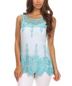Look at this UNI Fashion Aqua Sheer Lace-Trim Tank - Women on #zulily today!