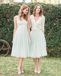 Separates on trend! Cora Tank + Perla Cardigan paired with our Lucy Skirt in Tulle #jyccora #jycperla #jyclucy #jycseparates #jennyyoo2016 | photo by @carolinetran | hmu by @kcwitkamp Tulle Bridesmaid Dress, Bridesmaid Outfit, Party Dress Outfits, Wedding Party Dresses, Bridesmaid Separates, Mod Wedding, Rustic Wedding, Trendy Wedding, Gowns