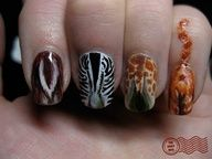 """""""the end"""" nail design...deer butt, zebra butt, giraffe butt, and cat butt ;) nail art."""