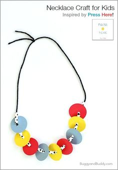 Press Here is such a fun, interactive book for children! We created this simple necklace craft for kids based on the story. It's perfect for practicing math patterns and fine motor skills too! Preschool Books, Craft Activities For Kids, Infant Activities, Book Activities, Crafts For Kids, Arts And Crafts, Craft Kids, Creative Activities, Creative Kids