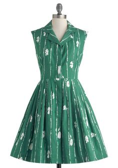 Bake Shop Browsing Dress in Grass by Emily and Fin - Cotton, Mid-length, Green, White, Floral, Buttons, Pockets, Casual, Shirt Dress, Sleeveless, Collared, Vintage Inspired, 50s, Spring