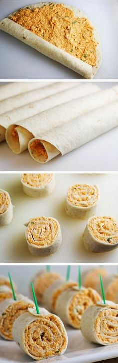 Buffalo Chicken Tortilla Pinwheels are a delicious party food with all the flavors of buffalo wings + blue cheese, but without the mess.