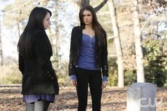 """Know Thy Enemy"" - Mia Kirshner as Isobel and Nina Dobrev as Elena Gilbert in THE VAMPIRE DIARIES on The CW. Photo: Quantrell Colbert/The CW 2011 The CW Network, LLC. All Rights Reserved."