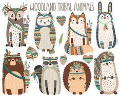 Woodland Tribal Tiere Clipart Wald Tier Clip von KennaSatoDesigns