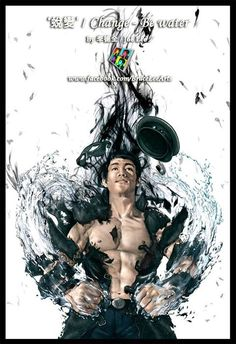 """Painting of Bruce Lee titled """"Change - Be Water""""; part of the Bruce Lee Arts Community collection on Facebook"""