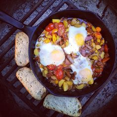 Skillet eggs and crostini. Photo courtesy of tomauratoday on instagram.