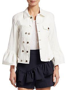 3.1 Phillip Lim Denim Ruffle-Sleeve Jacket