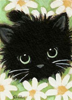 Shelly Mundel - Chat noir dans les marguerites