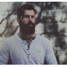 Levi Stocke - full thick dark red beard and mustache beards bearded man men mens' style fall winter fashion clothing tattoos tattooed auburn ginger redhead handsome #beardsforever