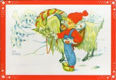 AK - Künstlerkarte - AINA STENBERG - WICHTEL & JULBOCK - Beschrieben Schweden