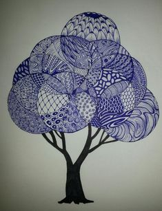 My own Zentangle tree. (not mine). would love to do this 1 day soon. Zentangle Drawings, Doodles Zentangles, Zentangle Patterns, Doodle Drawings, Doodle Art, Doodle Trees, Zantangle Art, Zen Art, Tangle Doodle