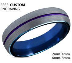 Tungsten Ring Mens Blue Silver Purple Wedding Band Tungsten Ring Tungsten Carbide 6mm Tungsten Man Wedding Male Women Anniversary Matching
