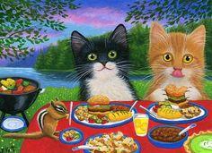 Kittens cats chipmunk summer cookout lake picnic original aceo painting art #Realism artist Bridget Voth