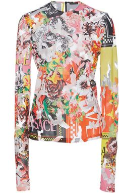 Floral Jersey Top by Versace Autumn Fashion Casual, Versace, Floral Tops, Long Sleeve, Sleeves, Inspiration, Shopping, Collection, Women