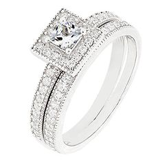 Sterling Silver 2 Pieces Princess Cut Cubic Zirconia Bridal Engagement Wedding Ring Set ** Details can be found by clicking on the image.