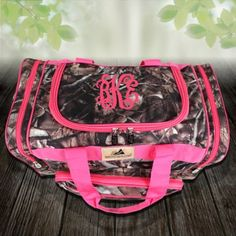 Pink and camo overnight bag with monogram