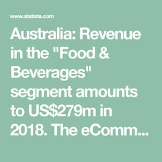 """Australia: Revenue in the """"Food & Beverages"""" segment amounts to US$279m in 2018. The eCommerce market segment """"Food & beverages"""" contains the online sale of fresh and packaged foods (excluding baby food), delicacies and beverages."""