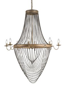 """Currey & Co. """"Lucien"""" Chandelier #9412 Material: Wrought Iron/Chain Mail Cord Finish: French Gold Leaf/Antique Wash Silver  #HPmkt #StyleSpottes  http://www.curreycodealers.com/ IHFC M110"""