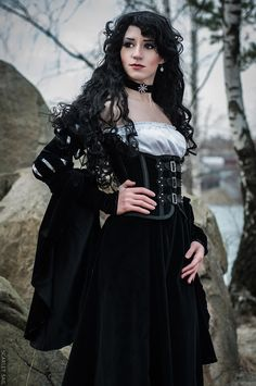 Character: Yennefer of Vengerberg / From: Andrzej Sapkowski's 'The Witcher' Short Stories and Novels & CD Projekt RED's 'The Witcher' Video Game Series / Cosplayer: Lina Groza (aka Great Queen Lina) / Photo: Julia Abramova / Costume Design: Lina Groza Witcher Art, The Witcher, Yennefer Witcher, Victorian Costume, Steampunk Costume, Steampunk Clothing, Yennefer Cosplay, Armadura Cosplay, Gothic Mode