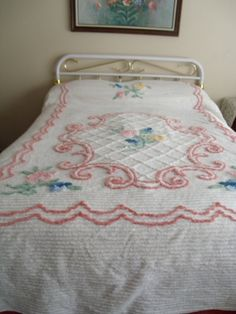 this chenille bedspread is shown on a queen size bed. It measures it is white with pink, yellow, green and blues. This is stunning and I could find no flaws at all plenty of thick Chenille. Chenille Bedspread, Vintage Shabby Chic, Vintage Love, Vintage Decor, Nostalgia, Linens And Lace, Vintage Crafts, Queen Size Bedding