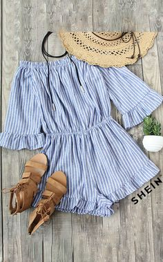 Blue Striped Off The Shoulder Ruffle Jumpsuit