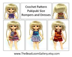 Crochet Pattern  Miniature Doll Size Rompers by thebeadloomgallery, $10.00