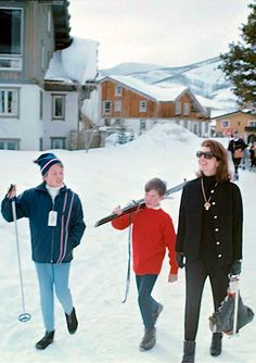 """Jackie Kennedy walking with her family in Vail, Colorado, 1968 #QMagazine """"Nostalgia"""" http://questmag.com/winter-2015/"""