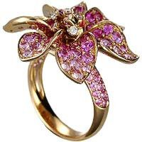 18k rose gold ring pink sapphire and diamonds