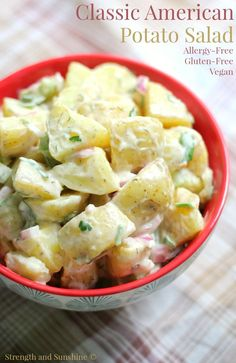 Classic American Potato Salad (Gluten-Free, Vegan) | Strength and Sunshine @RebeccaGF666 An essential to any summer bbq or cookout! The Classic American Potato Salad, now as a gluten-free, vegan, and top 8 allergy-free recipe! Super easy to whip up and serve to your guests. You'll be turning everyone into a potato salad fan!