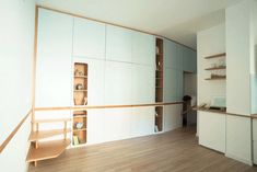 This small studio apartment has a custom designed plywood wall unit that has two sleeping areas and plenty of storage. Studio Living, Micro Apartment, Studio Apartment, Small Apartments, Small Spaces, Small Dressing Rooms, Plywood Walls, Custom Wall, Two Bedroom