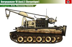Bergepanzer-VI Ausf.E (Bergetiger): This vehicle's role as a recovery vehicle has been disputed ever since its discovery. The evidence against it being a recovery vehicle is that it's crane was not designed to tow the weight of a tank, nor was it equipped with any other common recovery equipment. The alternate theory is that the vehicle was field-modified (possibly after suffering damage to the main gun) as either a mine-clearing vehicle, or to drop explosives to clear battlefield obstacles.