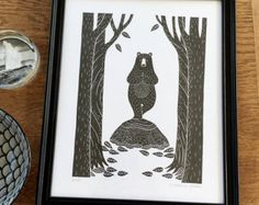 Yoga bear in the forrest- handmade original, handprinted