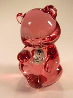 """Cute  Vintage  Fenton Cranberry Pink  Bear - 5151. The Fenton Critter is  3 3/4"""" Tall - EXCELLENT CONDITION. by VintageQualityFinds on Etsy"""