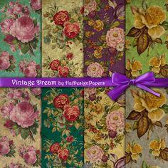 Vintage Dream  Digital Collage Sheet  Digital by HajDesignPapers, $3.50