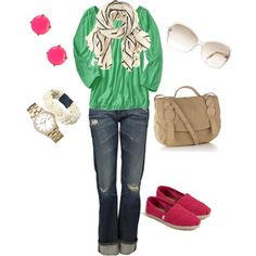 Cute Comfy Saturday outfit with a Pop of Pink