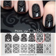 Black Damask Nail Art by @morenailpolish - stamp plate: moyou London Fashionista N°07, Black, Matte Polish