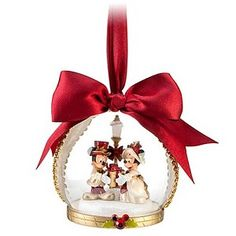 Disney Christmas Holiday Ornament - Victorian Mickey Minnie - Dome