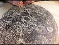 Moon Woodcut Original Art Print by Tugboat Printshop - awesome craving!