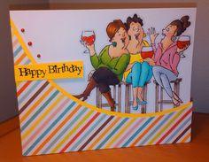 "Art Impressions ""Wine Tasters"" Ai Girlfriends.  Handmade birthday card."