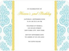 Paisley Damask - Adult Birthday Party Invitations - Blue Ribbon Design - Teal - Blue | www.TinyPrints.com
