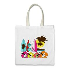 Surf Shop Surfing Ocean Beach Surfboards Palm Tree Bag