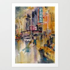 Rainy Day at #Broadway #Art Print by Dorrie Rifkin Watercolors - $20.00