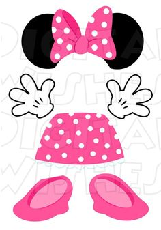 Minnie Mouse Pink Body Parts For State Room Disney Cruise Door Instant Mickey Minnie Mouse, Theme Mickey, Pink Minnie, Mickey Party, Minnie Mouse Favors, Disney Cruise Door, Disney Classroom, Classroom Door, Pink Body